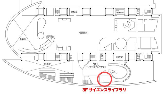 ワークショップ会場は、日本科学未来館 3F サイエンスライブラリ